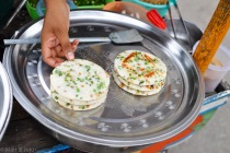 Pancakes salés et épicés - Yangon, Myanmar