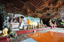 KawGon Cave : le sol est parfois recouvert de carrelage de salle de bain, très très très glissant en cette période de mousson !